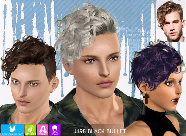 J198 Black Bullet Curly Side Hairstyle By Newsea The Sims 3 Catalog