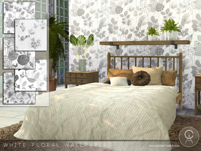 White Floral Wallpapers The Sims 4 Catalog