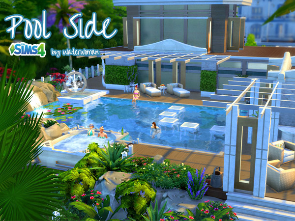 Pool side house the sims 4 catalog for Pool design sims 3