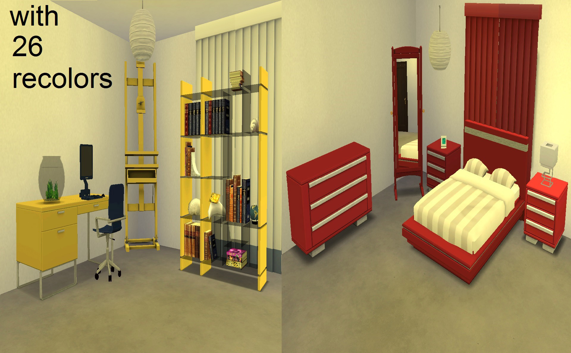 Modern bed study room the sims 4 catalog