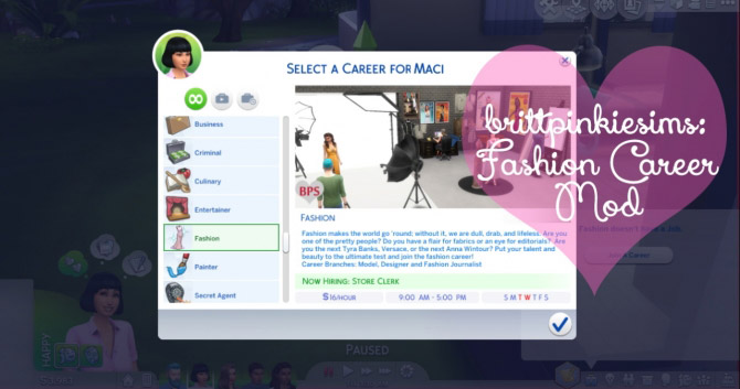 Fashion Career Mod The Sims 4 Catalog