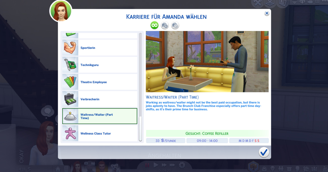 Waiter Career (Part Time) - The Sims 4 Catalog