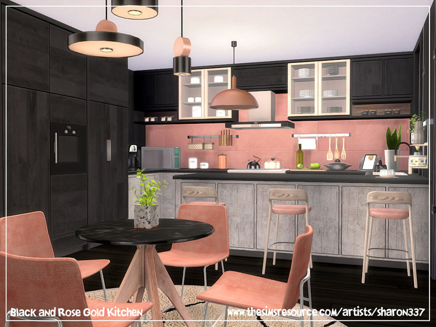 Black And Rose Gold Kitchen The Sims 4 Catalog